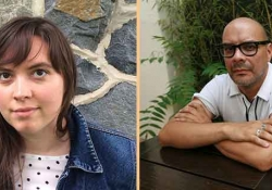 Translation prize winner Allana C. Noyes juxtaposed with poet Fabián Casas