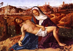 Giovanni Bellini, Pietà (1505), oil on wood, 65 x 90 cm, Gallerie dell'Accademia, Venice