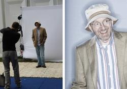 Chris Close photographing authors at the Edinburgh Book Festival