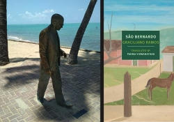 A statue of Graciliano Ramos at Ponta Verde beach, Maceió, Brazil juxtaposed with the cover to his book São Bernado