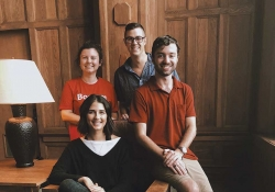 A photo of The Student Advisory Board officers for 2018–2019 (clockwise from top): Reid Bartholomew, James Farner, Kayla Ciardi, and Abi Clarke
