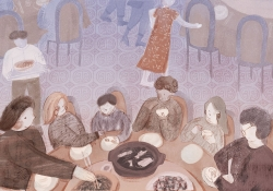 A soft illustration of a family around a table