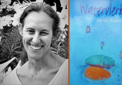 A black and white photograph of Ilse van Staden juxtaposed with the cover to her book Watervlerk