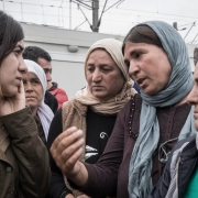 Nadia Murad speaking with a group of Yazidi women / Courtesy of Nadia's Initiative