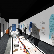 Interior rendering of the American Writers Museum in Chicago.